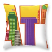 Seattle City Skyline Text Outline Color Illustration Throw Pillow