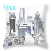 Seattle City With Print Throw Pillow