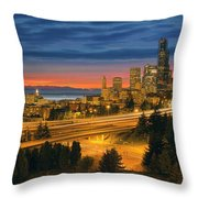 Seattle Cityscape After Sunset Throw Pillow