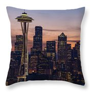 Seattle Cityscape Morning Light Throw Pillow