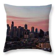 Seattle Cityscape Sunrise Throw Pillow