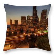 Seattle Downtown Skyline At Dusk Throw Pillow