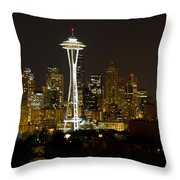 Seattle Downtown Skyline Evening Panorama Throw Pillow