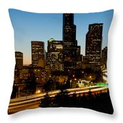 Seattle Downtown Skyline Evening View Throw Pillow