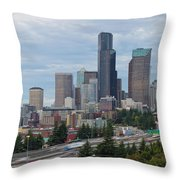 Seattle Downtown Skyline On A Cloudy Day Throw Pillow