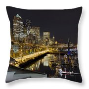 Seattle Downtown Skyline Waterfront Marina Throw Pillow