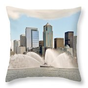 Seattle Downtown With Fireboat Throw Pillow