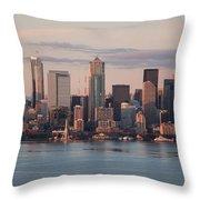 Seattle Dusk Skyline Throw Pillow