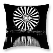 Seattle Great Wheel Black And White Throw Pillow