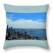 Seattle Harbor And Mt Rainier From Space Needle Throw Pillow
