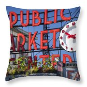 Seattle Market  Throw Pillow by Brian Jannsen