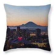 Seattle Morning Glow Throw Pillow