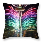 Seattle New Year Throw Pillow