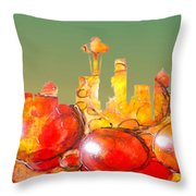 Seattle Over Cells - Marcello Cicchini Throw Pillow