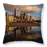 Seattle Pier Sunset Clouds Throw Pillow