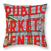 Seattle Public Market Center Clock Sign Throw Pillow