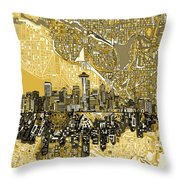 Seattle Skyline Abstract 2 Throw Pillow