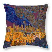 Seattle Skyline Abstract 4 Throw Pillow