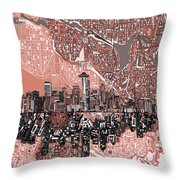 Seattle Skyline Abstract 5 Throw Pillow