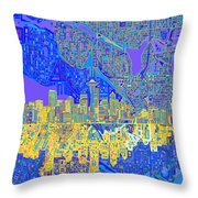 Seattle Skyline Abstract 6 Throw Pillow