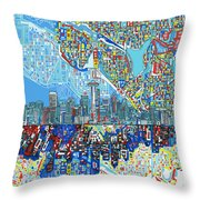 Seattle Skyline Abstract 7 Throw Pillow