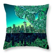 Seattle Skyline Abstract Throw Pillow