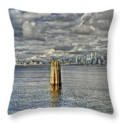 Seattle Skyline And Cityscape Throw Pillow