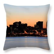 Seattle Skyline And Puget Sound At Sunrise Throw Pillow