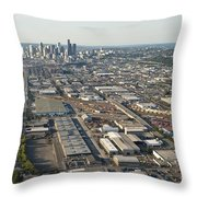 Seattle Skyline And South Industrial Area Throw Pillow