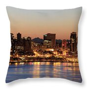 Seattle Skyline At Dawn Along Puget Sound Throw Pillow