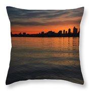 Seattle Skyline At Dawn Throw Pillow