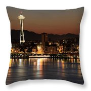 Seattle Skyline At Night By The Pier Panorama Throw Pillow