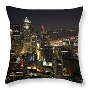 Seattle Skyline At Night Throw Pillow