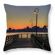 Seattle Skyline From The Pier At Sunrise Throw Pillow