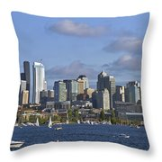 Seattle Skyline On Lake Union Throw Pillow