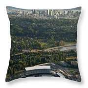 Seattle Skyline With Aerial View Of The Newly Renovated Husky St Throw Pillow