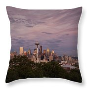 Seattle Skyline With Moonrise And Space Needle Throw Pillow