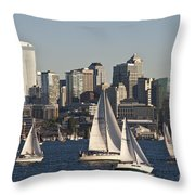 Seattle Skyline With Sailboats Throw Pillow