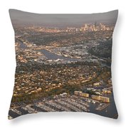 Seattle Skyline With Shilshole Marina Along The Puget Sound  Throw Pillow