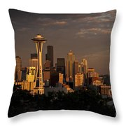 Seattle Skyline With Space Needle And Stormy Weather Throw Pillow
