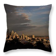 Seattle Skyline With Space Needle And Stormy Weather With Mount  Throw Pillow