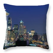 Seattle Skyline With Space Needle Throw Pillow