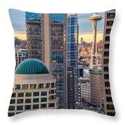 Seattle Space Needle Golden Sunset Light Throw Pillow