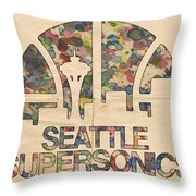 Seattle Supersonics Poster Vintage Throw Pillow