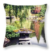 Seattle Tea Garden Reflections Throw Pillow