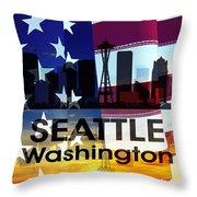 Seattle Wa Patriotic Large Cityscape Throw Pillow