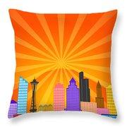 Seattle Washington City Skyline Panorama Throw Pillow