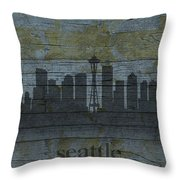 Seattle Washington City Skyline Silhouette Distressed On Worn Peeling Wood Throw Pillow