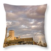 Seattle Waterfront Bathed In Golden Hour - Seattle Skyline - Puget Sound Washington State Throw Pillow