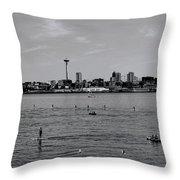 Seattle Waterfront Bw 2 Throw Pillow